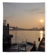 Philadelphia - Penn's Landing Sunrise Fleece Blanket