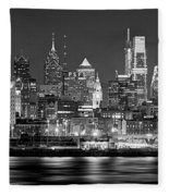 Philadelphia Philly Skyline At Night From East Black And White Bw Fleece Blanket