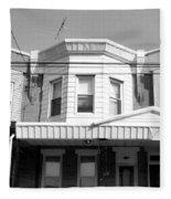 Philadelphia Row Houses - Black And White Fleece Blanket