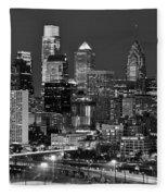 Philadelphia Skyline At Night Black And White Bw  Fleece Blanket