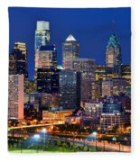 Philadelphia Skyline At Night Fleece Blanket