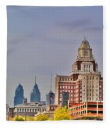 Philadelphia Skyline From Camden Waterfront Fleece Blanket