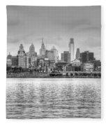 Philadelphia Skyline In Black And White Fleece Blanket