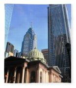 Philadelphia Street Level - Skyscrapers And Classical Building View Fleece Blanket