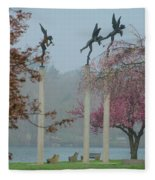 Philadelphia - Three Angels In Spring Fleece Blanket