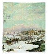Philadelphia Winter Landscape Ca. 1830 - 1845 By Thomas Birch Fleece Blanket