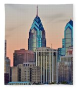 Philly At Sunset Fleece Blanket