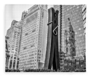 Philly Clothepin And City Hall Reflection In Black And White Fleece Blanket
