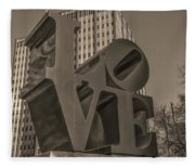 Philly Esque  - Love Statue In Sepia Fleece Blanket