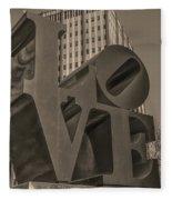 Philly Esque  - Love Statue In Sepia Fleece Blanket