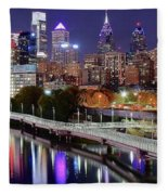 Philly In Panoramic View Fleece Blanket