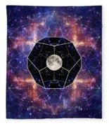 Photo Of The Moon And Sacred Geometry Fleece Blanket