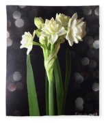Photograph Of Narcissus Erlicheer A White Flower Fleece Blanket
