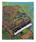 Piano Aqua Wall Fleece Blanket