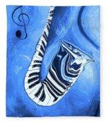 Piano Keys In A Saxophone Blue - Music In Motion Fleece Blanket