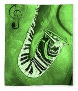 Piano Keys In A  Saxophone Green Music In Motion Fleece Blanket