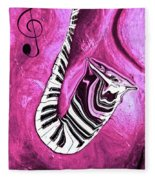 Piano Keys In A Saxophone Hot Pink - Music In Motion Fleece Blanket