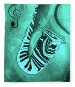 Piano Keys In A  Saxophone Teal Music In Motion Fleece Blanket