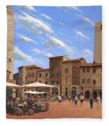 Piazza Della Cisterna San Gimignano Tuscany Fleece Blanket
