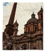 Piazza Navona At Sunset, Rome Fleece Blanket