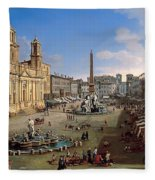 Piazza Novona - Rome Fleece Blanket