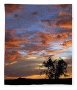 Picacho Peak Sunset II Fleece Blanket