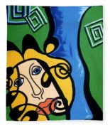 Picasso Influence With A Greek Twist Fleece Blanket
