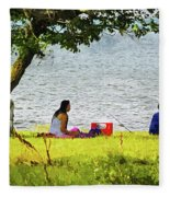 Picnic And Fishing Fleece Blanket