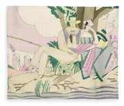 Picnic And Fishing Scene Fleece Blanket
