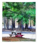 Picnic Area With Wooden Tables 3 Fleece Blanket