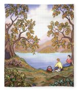 Picnic By A Lake Fleece Blanket