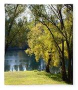 Picnic Spot On Spokane River Fleece Blanket