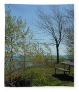Picnic Table By The Lake Photo Fleece Blanket