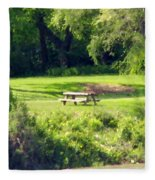 Picnic Table Fleece Blanket
