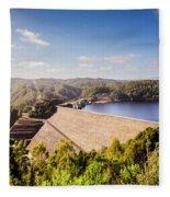 Picturesque Hydroelectric Dam Fleece Blanket