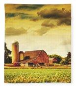 Picturesque North Dakota Farm Fleece Blanket