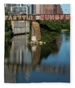 Picturesque View Of The Railroad Graffiti Bridge Over Lady Bird Lake As Canoes And Kayakers Paddle Under The Bridge On A Beautiful Summers Day Fleece Blanket