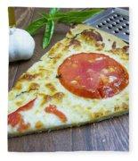 Piece Of Margarita Pizza With Fresh Ingredients Fleece Blanket