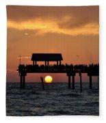 Pier 60 Clearwater Beach - Watching The Sunset Fleece Blanket
