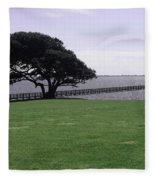 Pier And Tree By The River Fleece Blanket