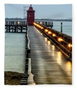 Pier With Lighthouse Fleece Blanket