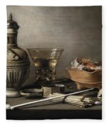 Pieter Claesz - Still Life With A Stoneware Jug, Berkemeyer, And Smoking Utensils 1640 Fleece Blanket