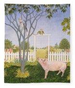 Pig And Cat Fleece Blanket