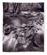 Pigeon Forge River Great Smoky Mountains Bw Fleece Blanket