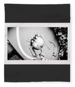 Pigtails Girl Metal Monochrome  Fleece Blanket