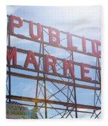 Pike Place Public Market Sign Fleece Blanket