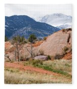 Pikes Peak From Red Rock Canyon Fleece Blanket
