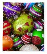 Pile Of Beautiful Ornaments Fleece Blanket