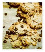 Pile Of Crumbled Chocolate Chip Cookies On Table Fleece Blanket