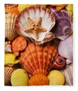 Pile Of Seashells Fleece Blanket